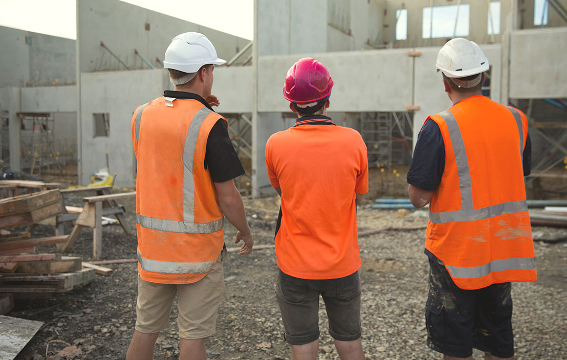 Men on a building site